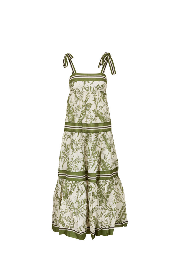Zimmermann Empire Khaki Palm Leaf Print Tie Shoulder Dress