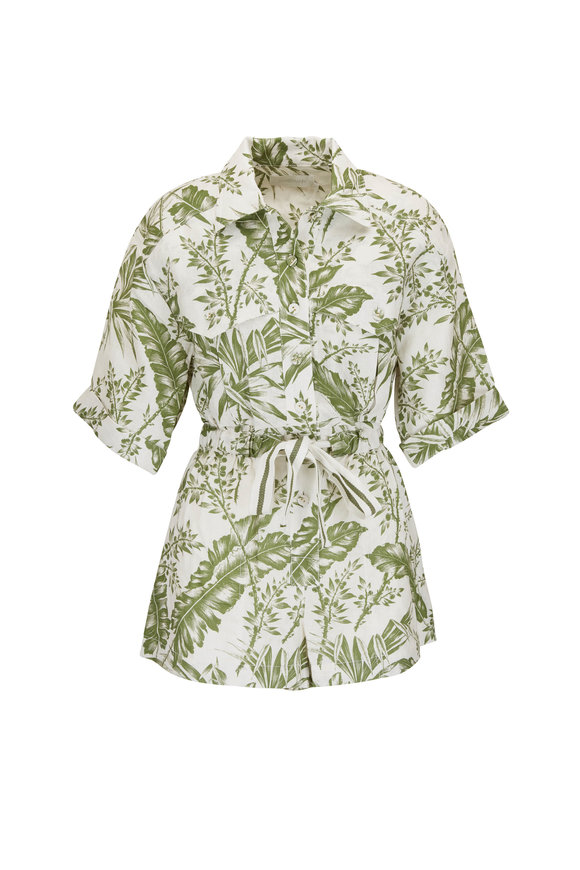 Zimmermann Empire Khaki Palm Leaf Print Utility Playsuit
