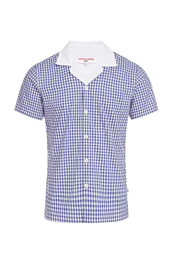 Orlebar Brown Thunderball Blue Gingham Short Sleeve Shirt
