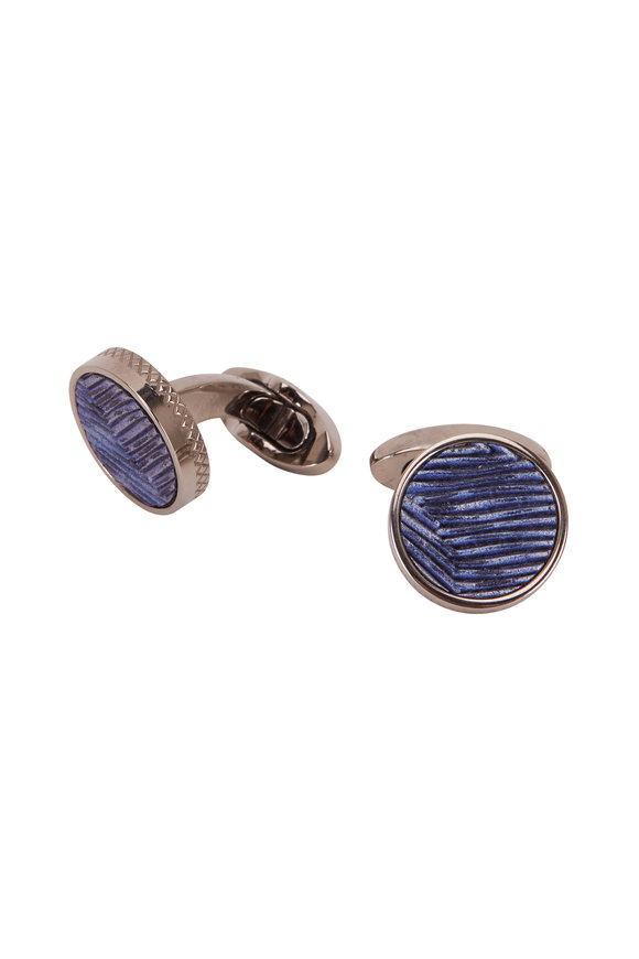 Tateossian Metallic Blue Leather & Titanium Cufflinks