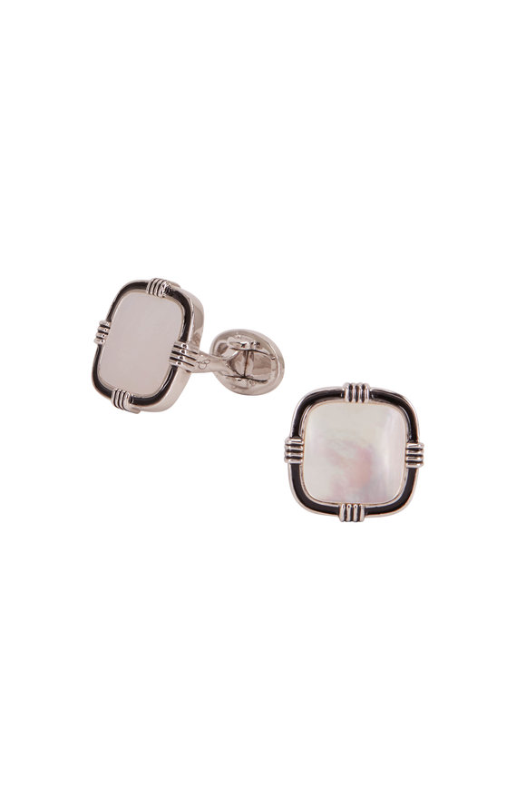 Jan Leslie Sterling Silver & Mother Of Pearl Cufflinks