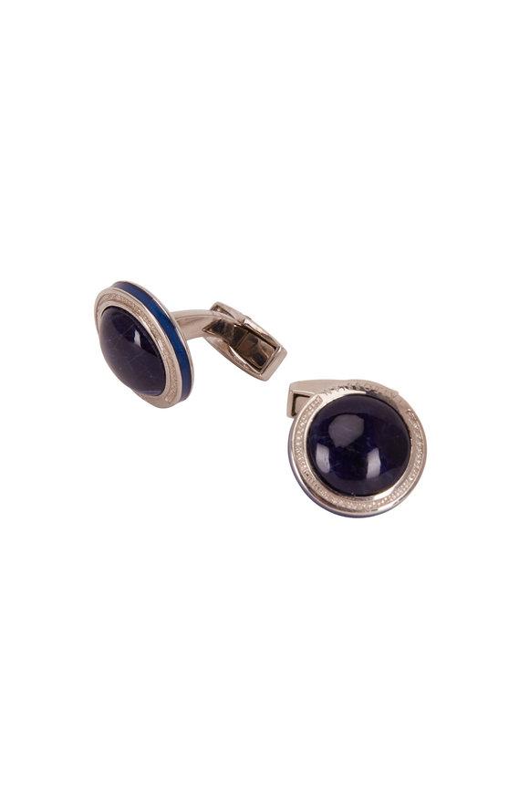 Tateossian Sterling Silver & Blue Sodalite Round Cufflinks