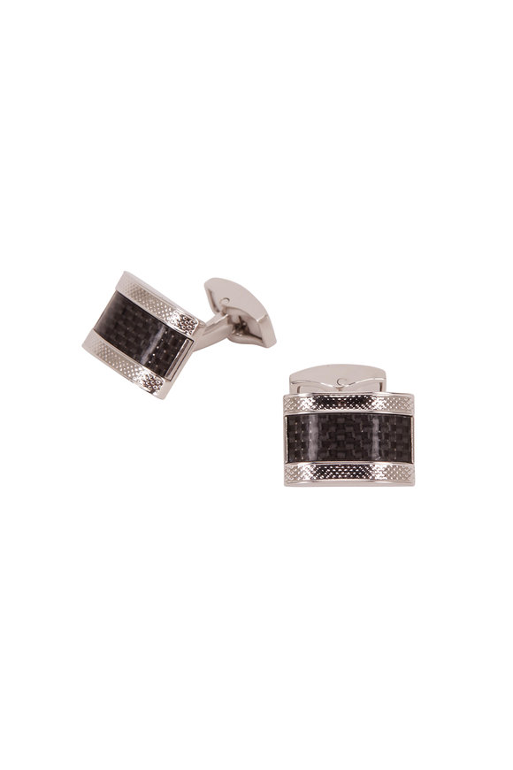 Tateossian Black Carbon Fiber & Sterling Silver Cufflinks