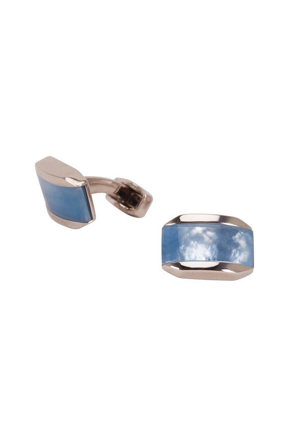Tateossian Light Blue Mother Of Pearl Cufflinks