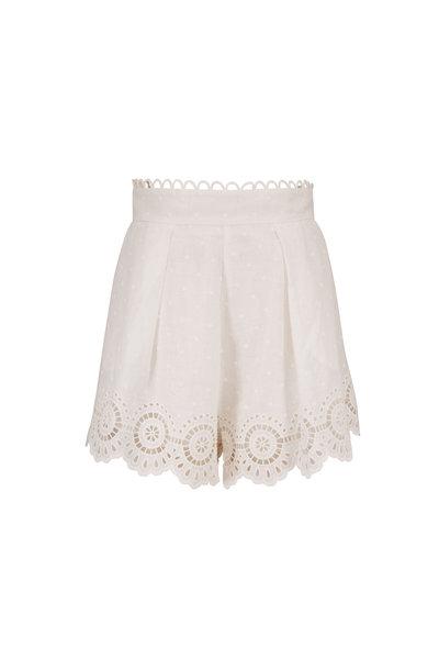 Zimmermann - Bellittude Scallop Linen Embroidered Shorts