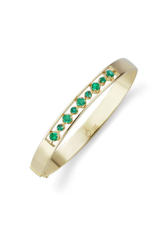 Sorellina 18K Yellow Gold Otto Emerald Bangle