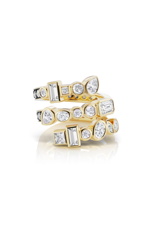 Sorellina 18K Yellow Gold Diamond Coil Ring