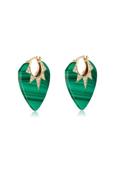 Sorellina - Gold Malachite & Diamond Guitar Pick Earrings
