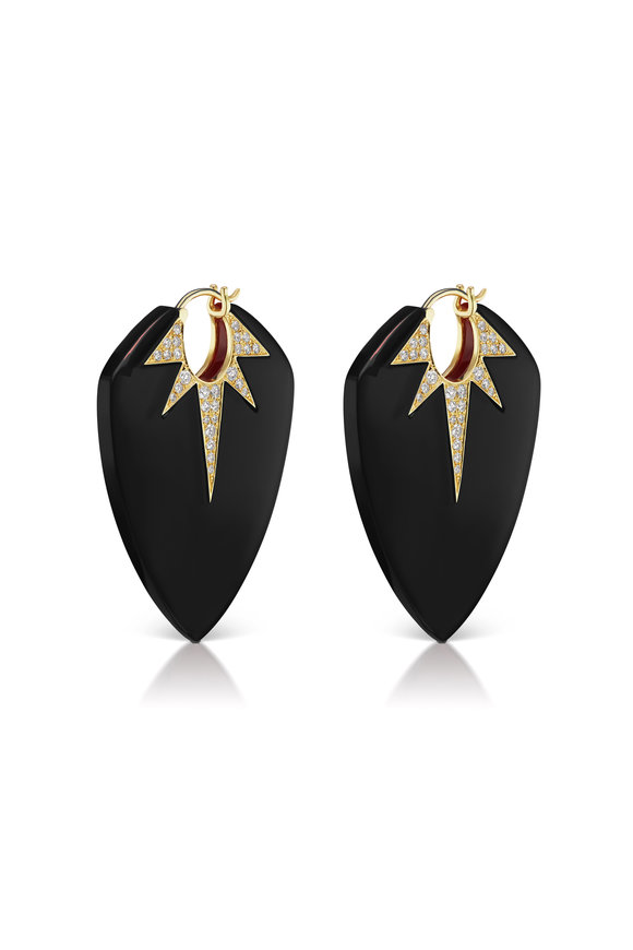 Sorellina 18K Yellow Gold Black Onyx Guitar Pick Earrings