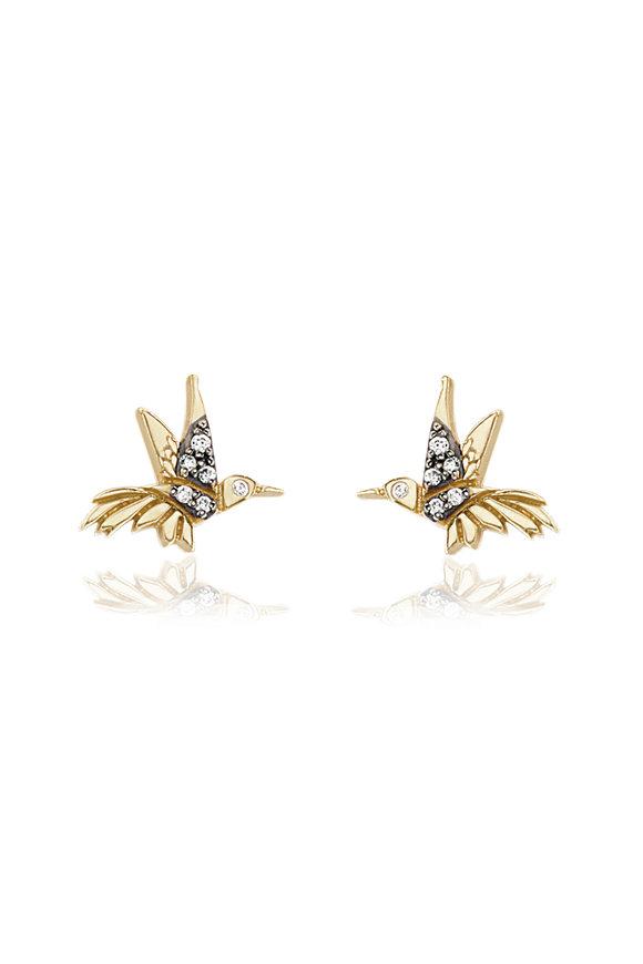 Sorellina 18K Yellow Gold Diamond Hummingbird Motif Earrings