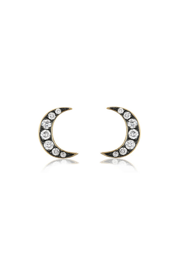 Sorellina 18K Yellow Gold Crescent Moon Motif Stud Earrings