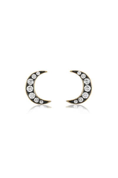 Sorellina - 18K Yellow Gold Crescent Moon Motif Stud Earrings