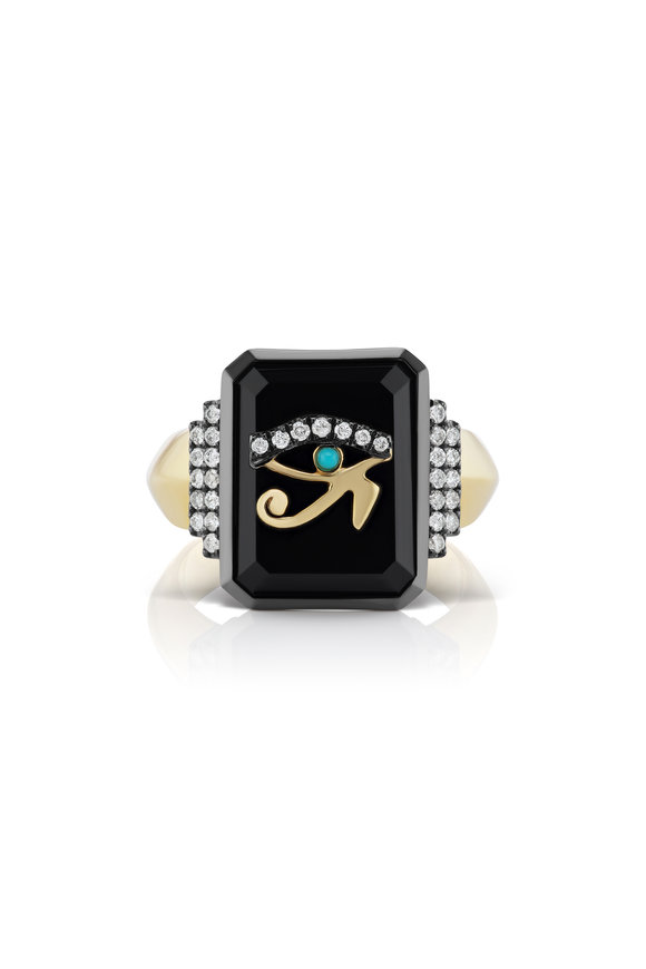 Sorellina 18K Yellow Gold Black Onyx Signet Ring