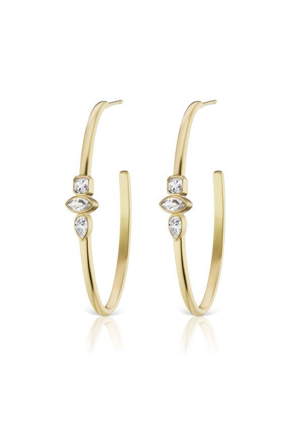 Sorellina 18K Yellow Gold Polished Diamond Hoop Earrings