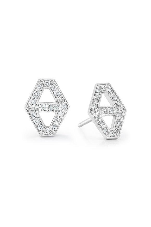 Walters Faith 18K White Gold Signature Diamond Hexagon Earrings