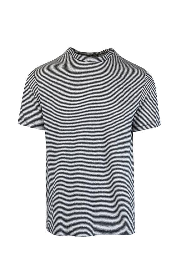 Officine Generale Black & White Striped T-Shirt