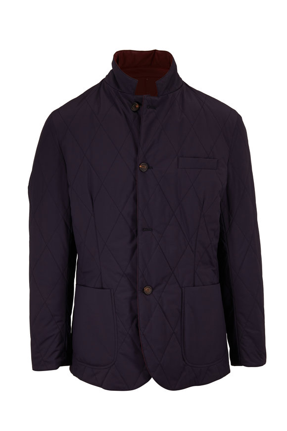 Brunello Cucinelli Navy & Maroon Reversible Quilted Jacket