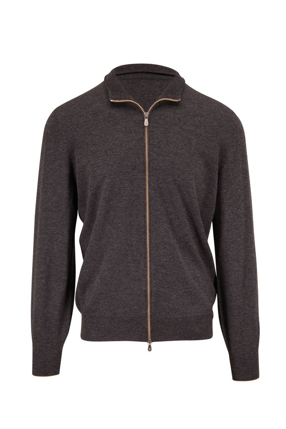 Brunello Cucinelli Gray Cashmere Front Zip Sweater