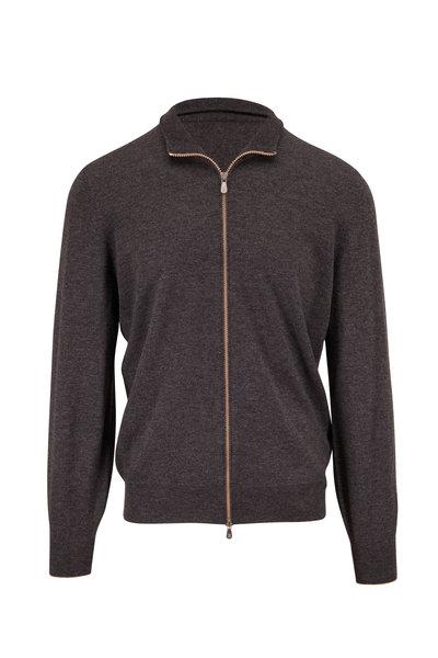 Brunello Cucinelli - Gray Cashmere Front Zip Sweater