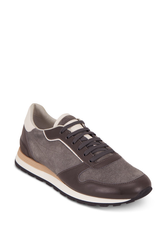 Brunello Cucinelli Dark Gray Suede & Leather Running Sneaker