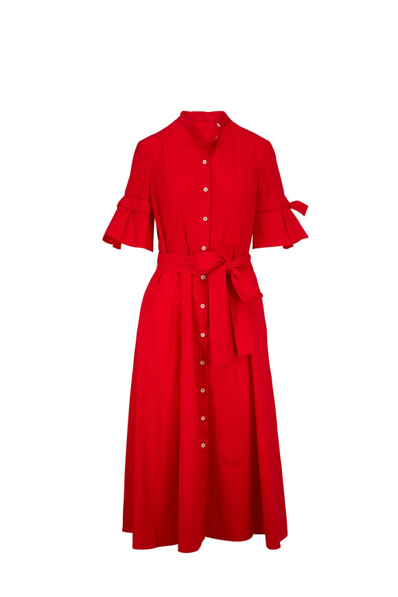 Carolina Herrera Imperial Red Knotted Short Sleeve Shirtdress