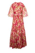Carolina Herrera - Pink Multi V-Neck Flutter Sleeve Overlay Dress