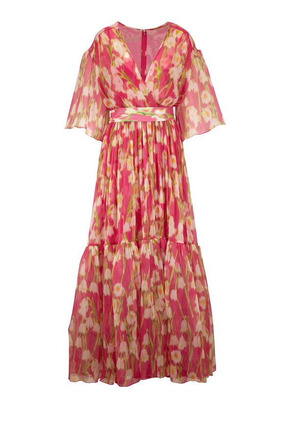 Carolina Herrera Pink Multi V-Neck Flutter Sleeve Overlay Dress