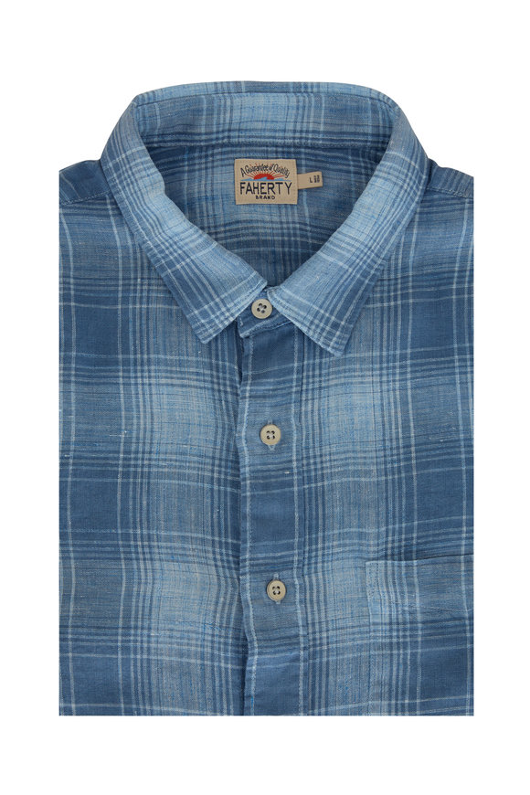 Faherty Brand Avalon Light Blue Plaid Linen Sport Shirt