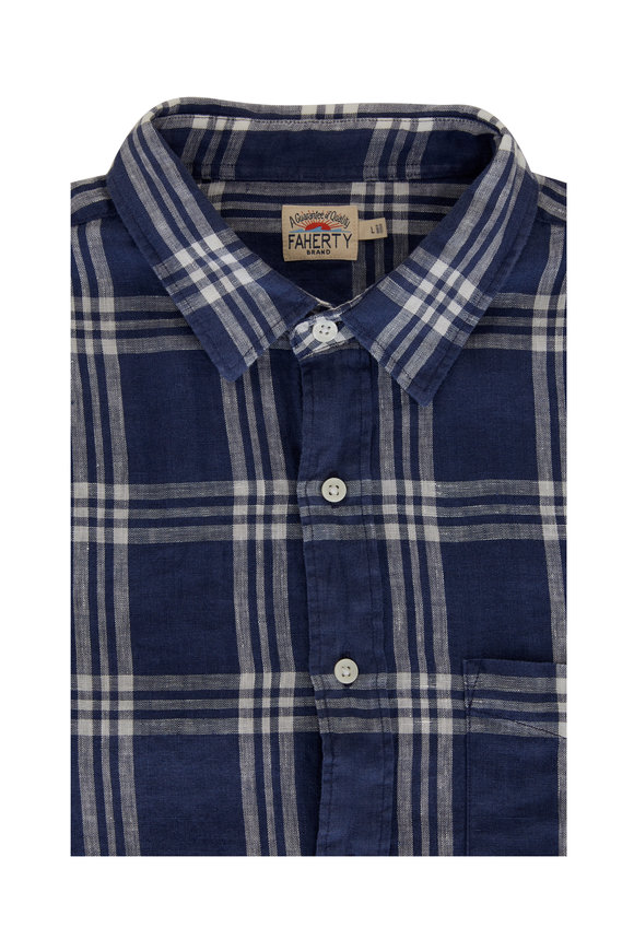 Faherty Brand Laguna Blue Jetty Plaid Linen Sport Shirt
