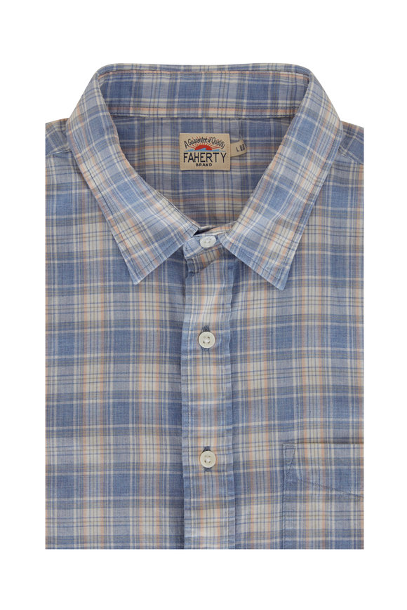 Faherty Brand Everyday Blue & Gray Plaid Sportshirt