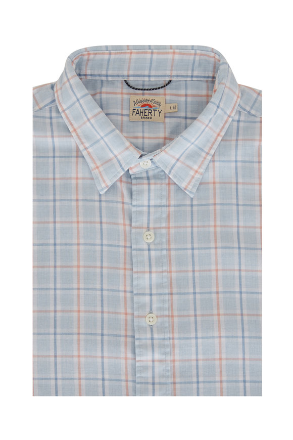 Faherty Brand Conway Light Blue Plaid Short Sleeve Sport Shirt