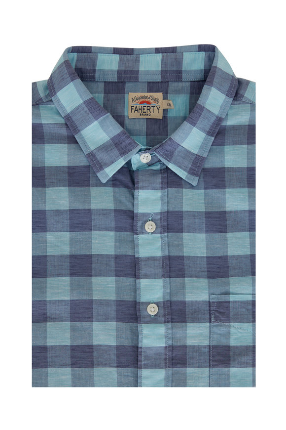 Faherty Brand Cloud Mint Buffalo Plaid Short Sleeve Sport Shirt