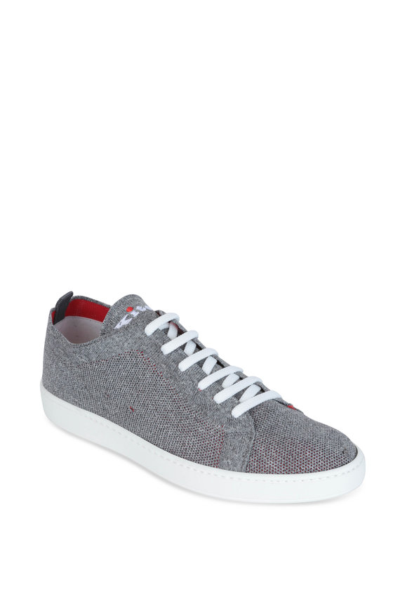 Kiton Gray Marled Knit Sneaker