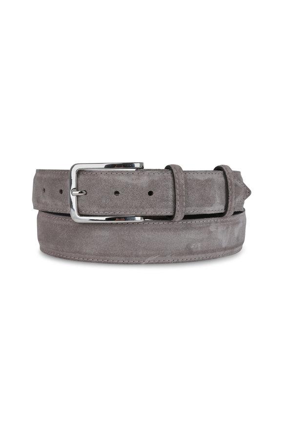 Bontoni Slate Gray Suede Belt