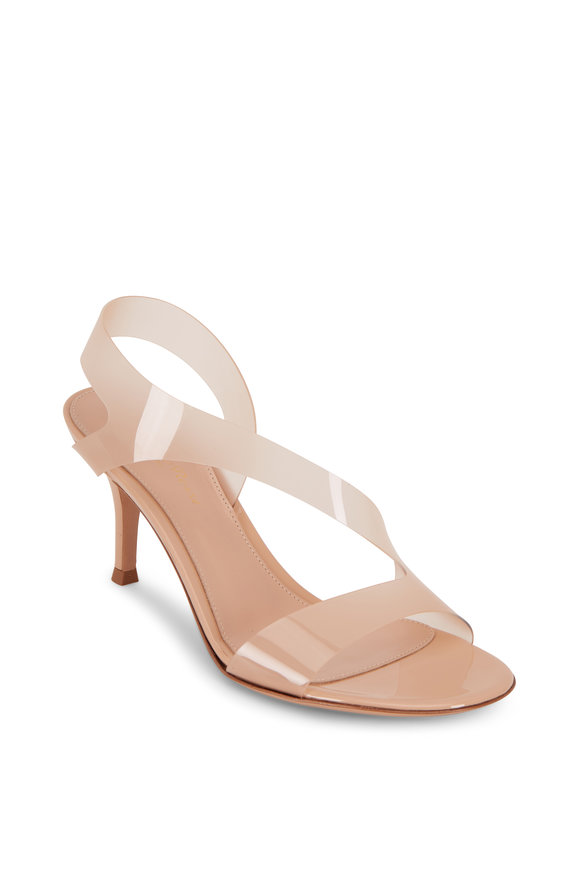Gianvito Rossi Nude PVC Sling Sandal, 70mm