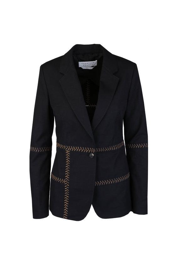 Gabriela Hearst Cadmus Black Heringbone Stitch Jacket
