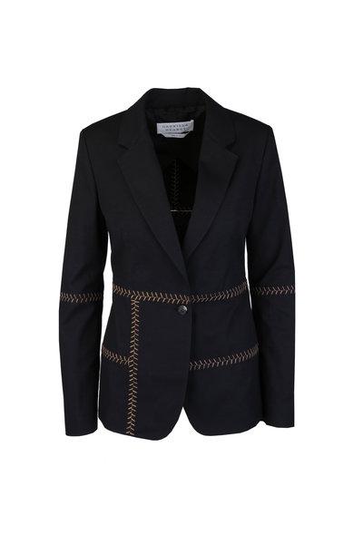 Gabriela Hearst - Cadmus Black Heringbone Stitch Jacket