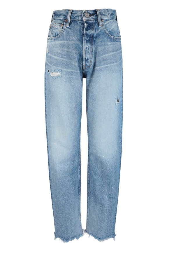Moussy Lomita Light Blue Wide Leg Straight Jean