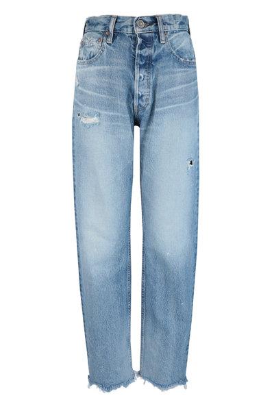 Moussy - Lomita Light Blue Wide Leg Straight Jean