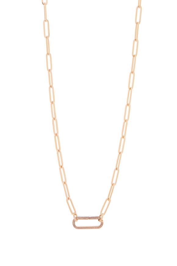 Genevieve Lau 14K Rose Gold Diamond Clasp Link Necklace