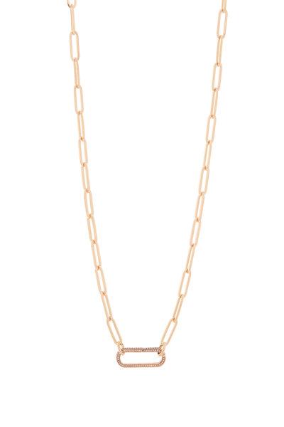 Genevieve Lau - 14K Rose Gold Diamond Clasp Link Necklace