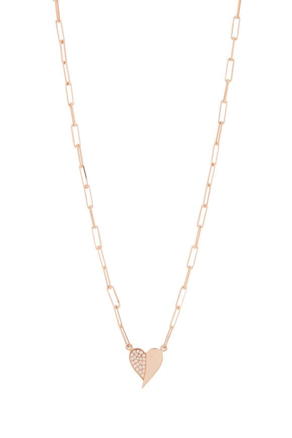 Genevieve Lau 14K Rose Gold Half Diamond Heart Necklace