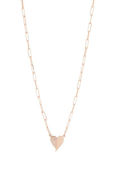 Genevieve Lau - 14K Rose Gold Half Diamond Heart Necklace