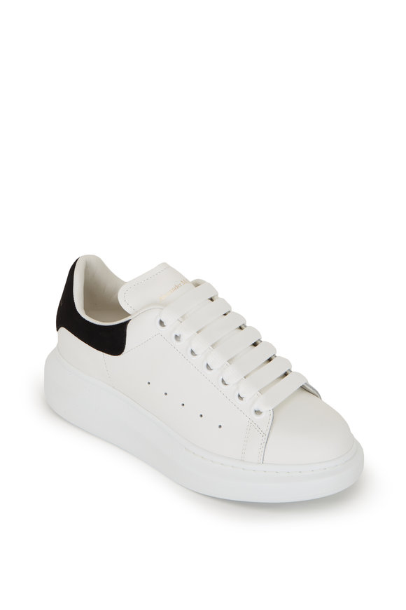 Alexander McQueen White & Black Leather Exaggerated Sole Sneaker