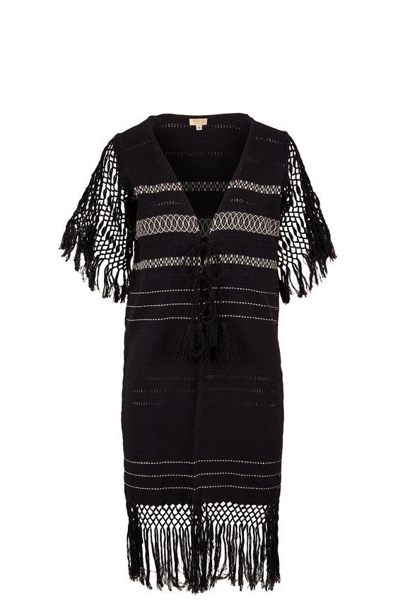 Jaline Susana Black Handwoven Robe