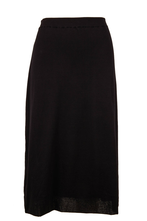 The Row Coseti Black Pull-On Midi Skirt