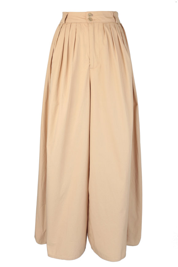 AG Hadley Sandlewood High-Rise Pleated Culotte