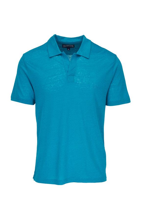 Vilebrequin Azure Linen Short Sleeve Polo