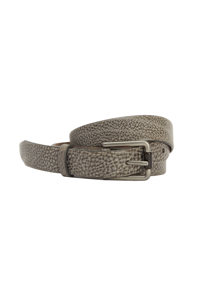 Taupe Leather Distressed Belt With Buckle