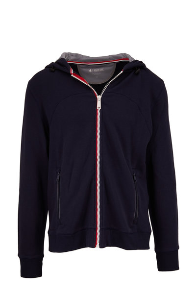 Fourlaps - Rush Navy Front Zip Athletic Fit Hoodie
